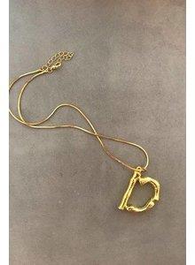 Adamarina D- Initial Alphabet letter pendant with chain