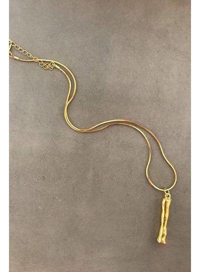 Adamarina I - Colgante letra dorado con cadena