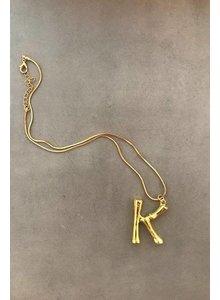 Adamarina K - Initial Alphabet letter pendant with chain