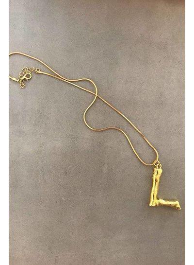 Adamarina L - Initial Alphabet letter pendant with chain