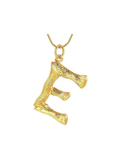 Adamarina E- Colgante letra dorado con cadena