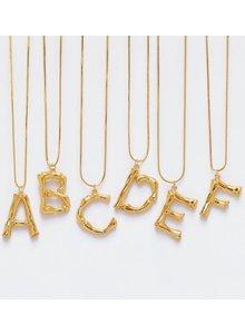 Adamarina F- Initial Alphabet letter pendant with chain
