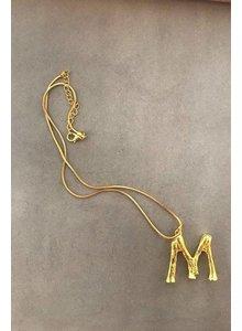 Adamarina M- Initial Alphabet letter pendant with chain