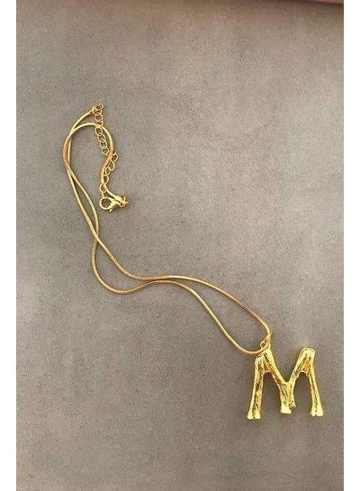 Adamarina M- Colgante letra dorado con cadena