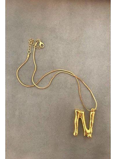 Adamarina N- Colgante letra dorado con cadena