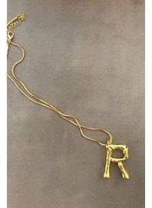 Adamarina R - Gold Buchstabe Anhänger  mit Kette