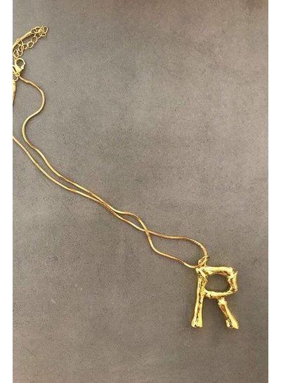 Adamarina R - Colgante letra dorado con cadena
