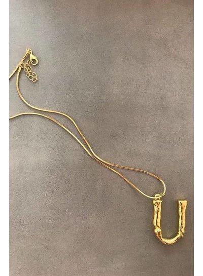 Adamarina U - Initial Alphabet letter pendant with chain