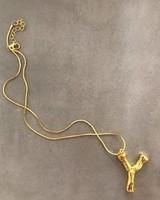Adamarina Y - Gold Buchstabe Anhänger  mit Kette