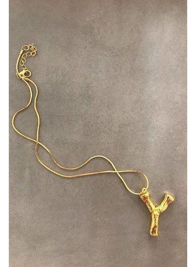 Adamarina Y- Colgante letra dorado con cadena