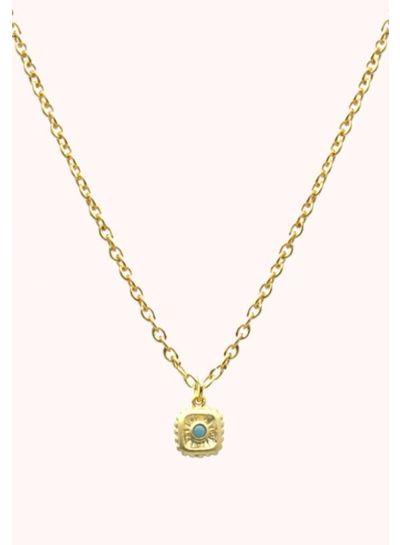 Adamarina Little Blue Glass Pendant and chain