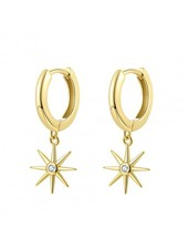 Adamarina Gold Circonia Stars Earrings