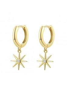 Adamarina Gold Circonia Stars Earrings