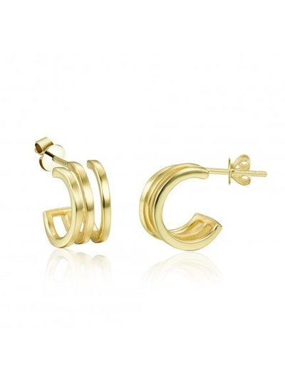 Adamarina Gold Earrings 3 Hoops