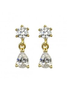 Adamarina Gold Circonia Earrings