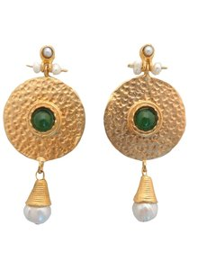 Adamarina Helena Pink Green Earrings