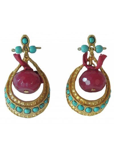 Adamarina Persepolis Turquoise and Garnet Earrings