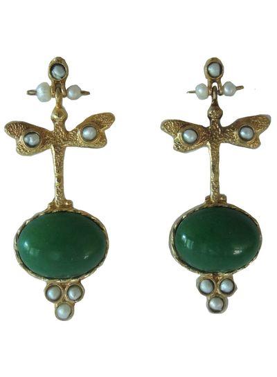 Adamarina Lucia Green Earrings