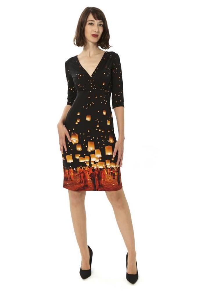 World of Lights Sleeved Dress