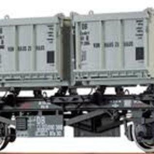 """Brawa Brawa 37163 Containerdraagwagen """"von Haus zu Haus"""" open bakken DB Ep. 3/4 Spoor 0"""