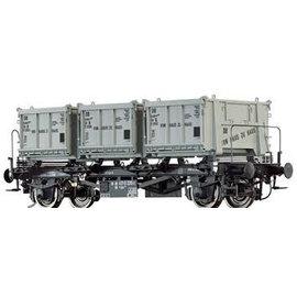 """Brawa Brawa 37164 Containercarrier """"von Haus zu Haus"""" open containers Gauge 0 DB Era. 3/4"""