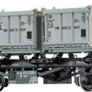 """Brawa Brawa 37164 Containerdraagwagen """"von Haus zu Haus"""" open bakken DB Ep. 3/4 Spoor 0"""