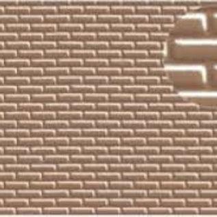 Slater's Plastikard SL403 Selbstbauplatte Backstein in halbstein Verbund, Maßstab H0, braugraue Farbe, aus Kunststoff