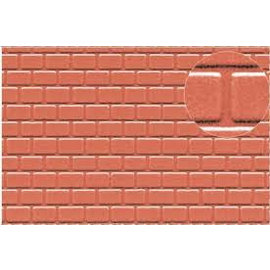 Slater's Plastikard SL425 Builder Sheet embossed with roofing tile motive in stone red, H0/OO gauge, plastic
