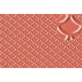 Slater's Plastikard SL438 Builder Sheet embossed with roofing tile scalloped shell in stone red, H0/OO gauge, plastic