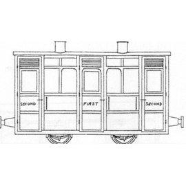 """Parkside Dundas Parkside Dundas DM44 """"Festiniog & Blaenau 4 Wheel 1st/2nd Class Coach"""" (schaal OO9/HOe)"""