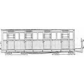 """Parkside Dundas Parkside Dundas DM61 """"Festiniog (Style) 4 Compartment Planked Composite Bogie Coach"""" (schaal OO9/HOe)"""