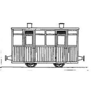"""Dundas Models (formerly Parkside Dundas) Parkside Dundas DM68 """"Victorian Two Compartment Planked 4 Wheel Coach"""" (schaal OO9/HOe)"""