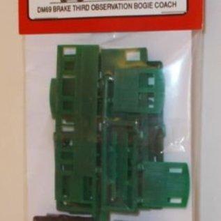 """Dundas Models (formerly Parkside Dundas) Parkside Dundas DM69 """"Brake Third Observation Bogie Coach"""" (Spur OO9/HOe)"""