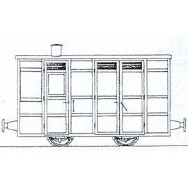 """Parkside Dundas Parkside Dundas DM74 """"Victorian 4 Wheel Passenger Guards Van"""" (schaal OO9/HOe)"""