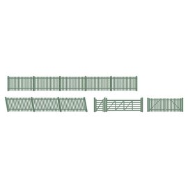 Ratio Ratio Lineside 430 Station Fencing Gates & Ramps Green (Gauge H0/00)