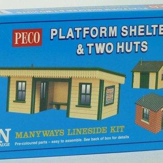 Peco Peco NB16 perron overkapping + twee hutjes (schaal N)