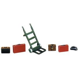 Peco Peco LK752 Porters Trolley + Luggage Cast White Metal (Gauge 0)