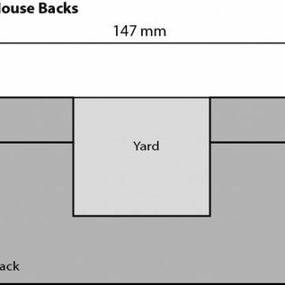 Metcalfe Metcalfe PN176 Reihenhäuser in rotem Backstein, nur Rückseiten (Halbrelief/Hintergrundmodell) (Spur N)