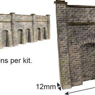 Metcalfe Metcalfe PN144 Steun- galerijmuren in grijze steen (Schaal N)