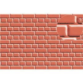 Slater's Plastikard SL400 Builder Sheet embossed with english bond brickwork in stone red, 0-Gauge, plastic