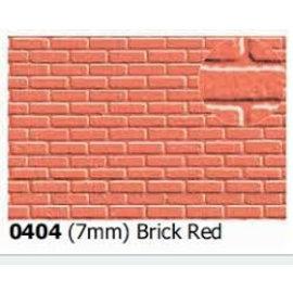 Slater's Plastikard SL404 Zelfbouwplaat rode baksteen halfsteens verband, Schaal 0, kunststof