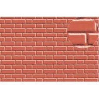 Slater's Plastikard SL410 Builder Sheet embossed with flemish bond brickwork in stone red, 0 gauge, plastic