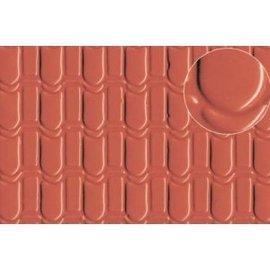 Slater's Plastikard SL440 Builder Sheet embossed with roofing tile scalloped shell in stone red,0 gauge, plastic