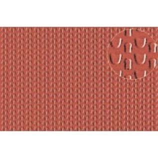 Slater's Plastikard SL444 Builder Sheet embossed with roofing tile scalloped shell in stone red, N gauge, plastic