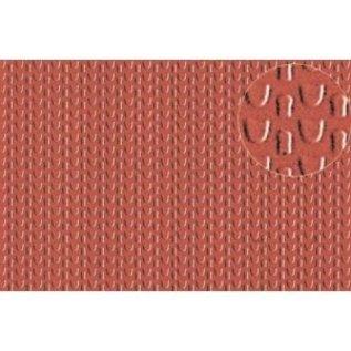 Slater's Plastikard SL444 Builder Sheet embossed with roofing tile scalloped shell in stone red, N gauge, plastic