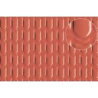 Slater's Plastikard SL441 Builder Sheet embossed with roofing tile scalloped shell in stone red,H0/OO gauge, plastic