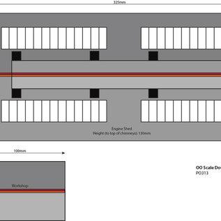 Metcalfe Metcalfe PO313 Zweiständiger Lokschuppen mit Nebengebäude(Baugröße H0/OO)