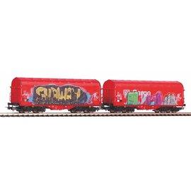 Piko Piko 58362 2er Set Schiebeplanenwagen Shimmns mit Grafitti und realistischer Alterung DC periode VI (schaal H0)