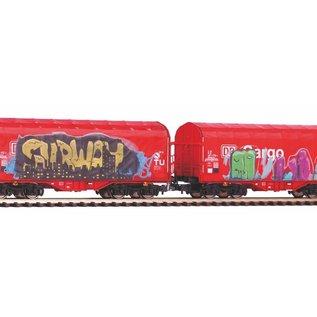 Piko Piko 58362 2er Set Schiebeplanenwagen Shimmns mit Graffiti und realistischer Alterung DC Epoche VI (Spur H0)