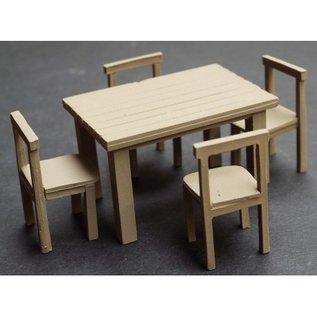 Skytrex Skytrex 7/245B Tisch + 4 Stühle (Spur O)
